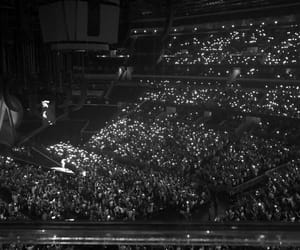 black and white, concert, and crowd image