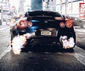 flames, nissan, and gtr image