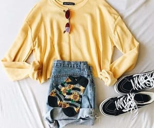 outfit, fashion, and sunflower image