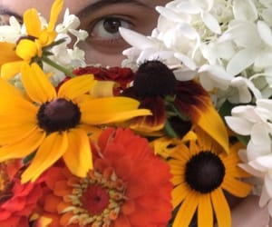 flowers, girl, and wildflowers image