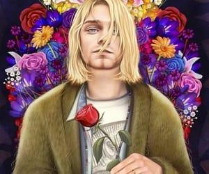flowers, kurt cobain, and nirvana image