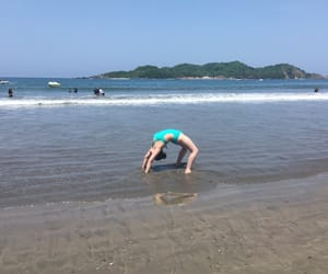 beach, flexibility, and gymnastics image