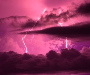 pink, sky, and lightning image