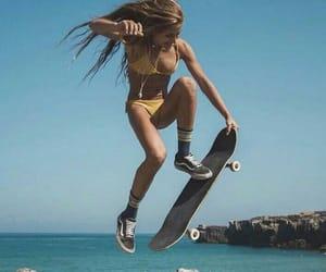 bikini girl, boards, and skater image