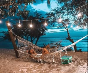 beach, lights, and peaceful image