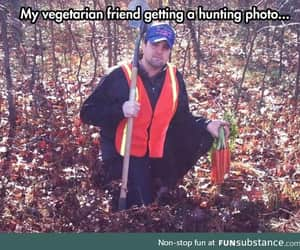 funny, vegetarian, and hunt image
