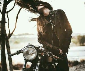 motorcycle, girl, and motorbike image