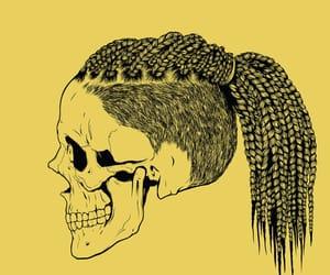 art, ponytail, and skulls image