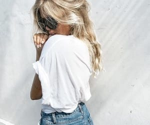 blonde, jeans, and style image