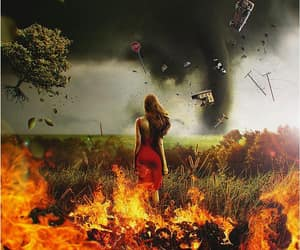 redhead red dress, tornado fire stopsign, and car house tree image