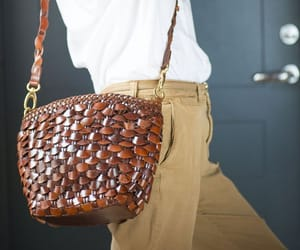tan leather bag, shoulder bag women, and italy made bag image