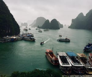asia, boats, and landscape image