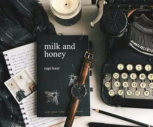 book, milk and honey, and aesthetic image
