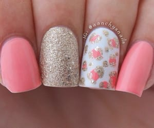 coral, flowers, and glitter image