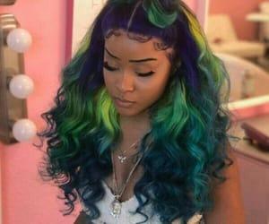 blue hair, rainbow hair, and frontal image