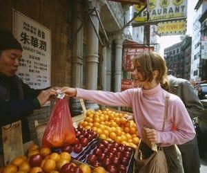 girl, fruit, and street image