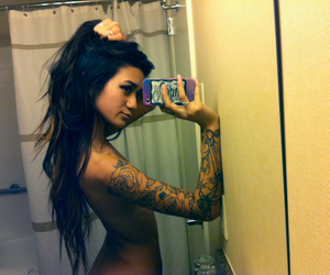brunette, naked, and tats image