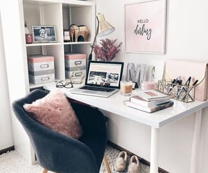 home, pink, and desk image