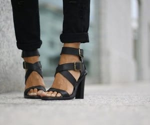 black, high heels, and jeans image