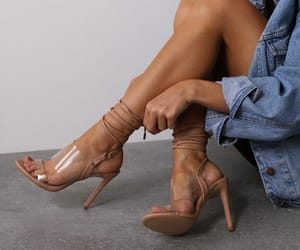 blonde, curly, and heels image