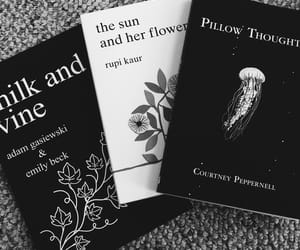 black and white, books, and christmas image