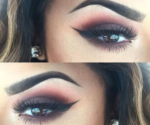 brown eyes, dark shadow, and lashes image