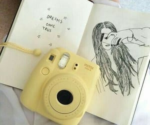 polaroid, yellow, and sketchbook image