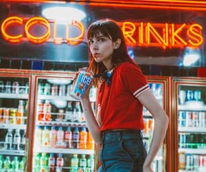drink, girl, and neon image