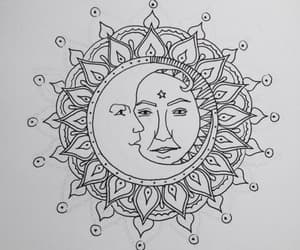art, moon, and sun image