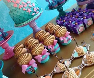 candy bar, cup cakes, and mermaid image