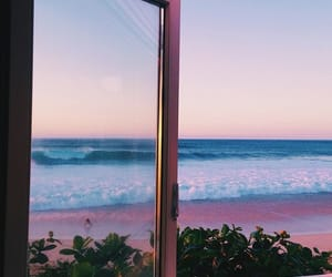 beach, window, and sea image