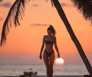 sunset, beach, and girl image