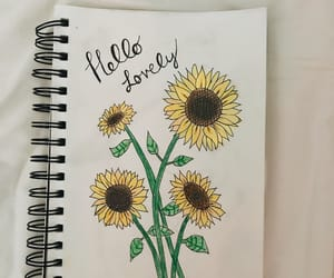 art, drawing, and sunflower image