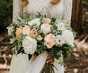 bouquet, dress, and flowers image