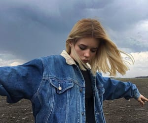 girl, blue, and blonde image