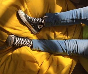 shoes, yellow, and denim image