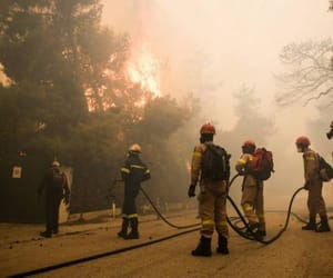 fire, firefighter, and Greece image