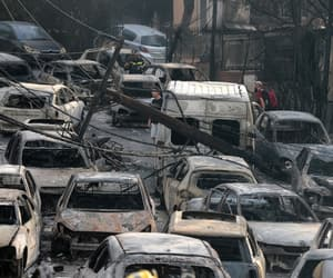 cars, fire, and Greece image