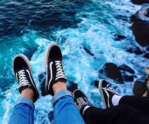 rock, sneakers, and water image