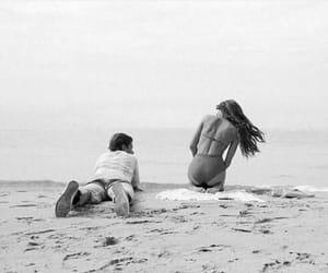 beach, couple, and girl image