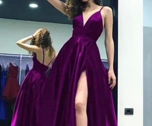 fashion, prom gown, and purple prom dress image