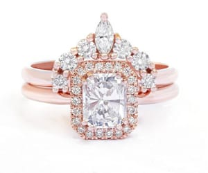 unique engagement ring, halo engagement ring, and unique diamond ring image