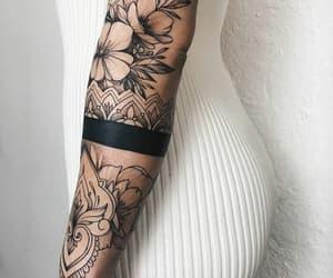 black ink, flower, and tatouage image