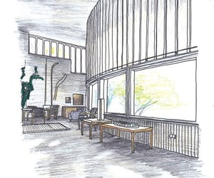 architecture, drawing, and interior image