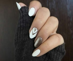nails, white, and golden image