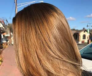 brown hair, girl, and golden hair image