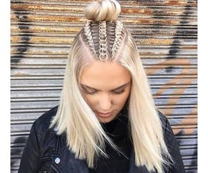 hair, blonde, and braids image