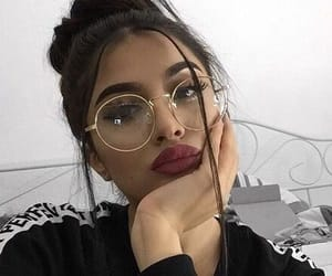 girl, beauty, and glasses image