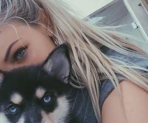 girl, dog, and eyes image
