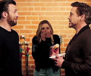 chris evans, elizabeth olsen, and robert downey jr image